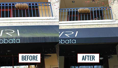 Before and after images of a commercial awning cleaned by Mr. J's Services.