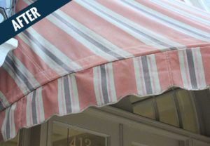 An 'after' image of an awning cleaned by Mr. J's Services.