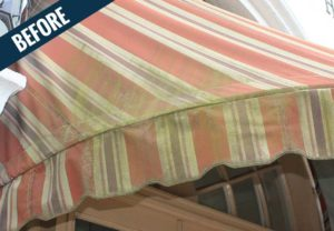 A 'before' image of an awning showing dirt, mold and mildew.