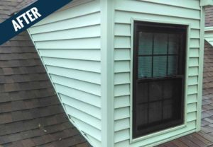 An 'after' image of siding cleaned by Mr. J's Services.