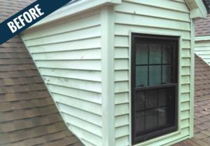 A 'before' image showing the accumulation of dirt and mildew on a dormer.
