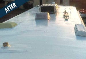 An 'after' image of an RV roof that has been washed and resealed by Mr. J's Services.