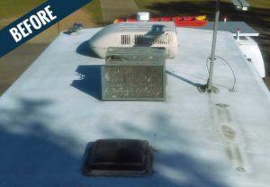 A 'before' image of the roof of an RV showing dirt and mold.