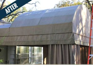An 'after' image of an awning with curtains cleaned by Mr. J's Services.