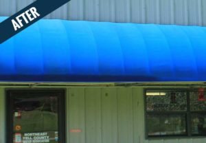 An 'after' image of a commercial awning cleaned by Mr. J's Services.