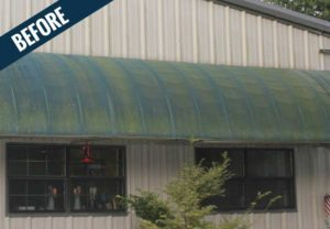 A 'before' image showing an awning that looks more green than blue.