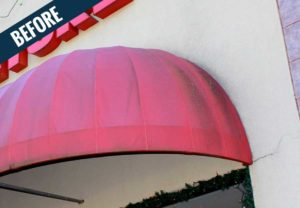 A 'before' image of an awning showing the accumulation of dirt, mold and mildew.