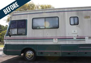 A 'before' image of an RV showing the accumulation of dirt and mold.